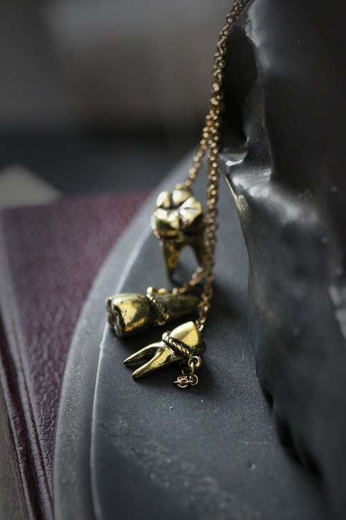 Three Tooth Necklaces by Defy / Fangs Charm Pendant / Anatomical Jewelry
