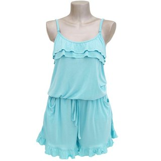 Adult cute camisole ruffle all-in-one <Aqua>
