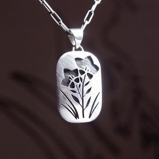 Bellflower overlay silver necklace
