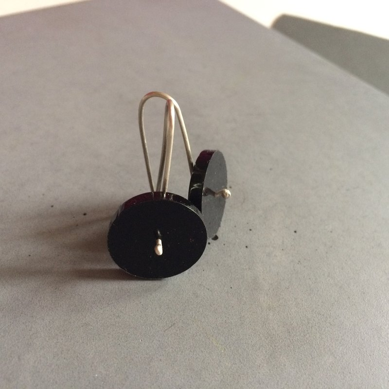 Black Circle - Long Minimal Sterling Silver Earrings with plexi - black