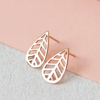 Leaf Earring in Brass with Rose Gold Plating