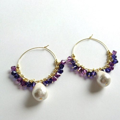Swarovski & Cotton Pearl Hoop Earrings (Purple)
