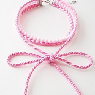 Pink three layers choker