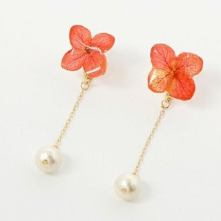 Hydrangea and Cotton Pearl Long Earrings