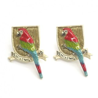 Red and Green Macaw Beni mixing earrings / earrings PA376