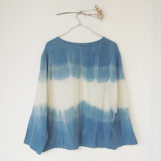 Indigo atmosphere long-sleeve shirt / natural dye / cotton