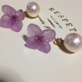 * Lavender * Hydrangea and Cotton Pearl Catch Earrings