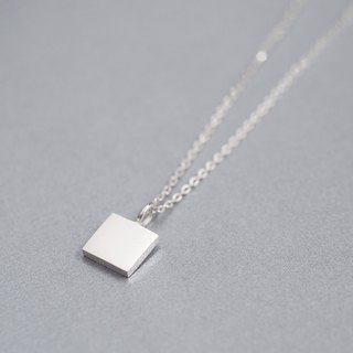 tiny square necklace silver 925