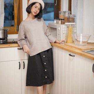 Linen skirt with Wooden buttons - Black