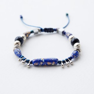 Mixed beads silver materials string bracelet in blue and black