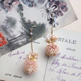 14 kgf thousand Nikki Dry Flower x Rose Quartz Chain Earring OR Pain-resistant Brass Ear Clip Ear Needle / Ear Incl