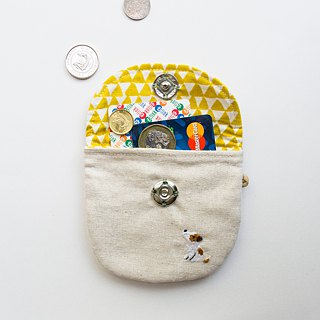 刺蝟 Hedgehog Embroidered Linen Wee Pouch