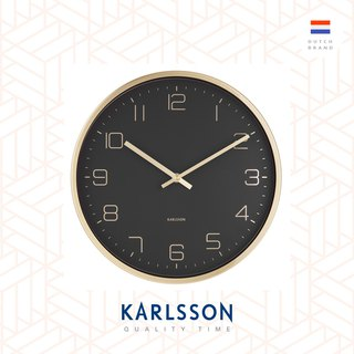 Karlsson 亮金框黑色挂钟Wall clock Gold Elegance black