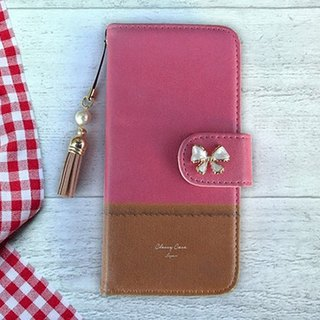 【All models supported】 Free shipping 【notebook type】 with fabric pink and brown tassel strap