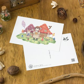 "4 pieces set. Like a picture book. Post card ""Azusa and March family, big mushroom house"" PC-68"