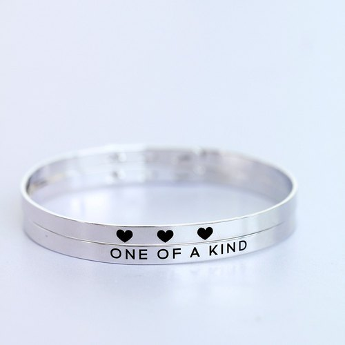 One Of A Kind - Bangle with White Gold plating