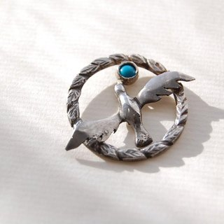 Bird and Turquoise pin brooch