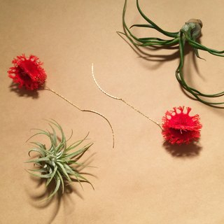 ARRO / Embroidery / earrings / Cactus / red