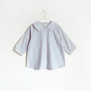 cat paws collar blouse : purple gray