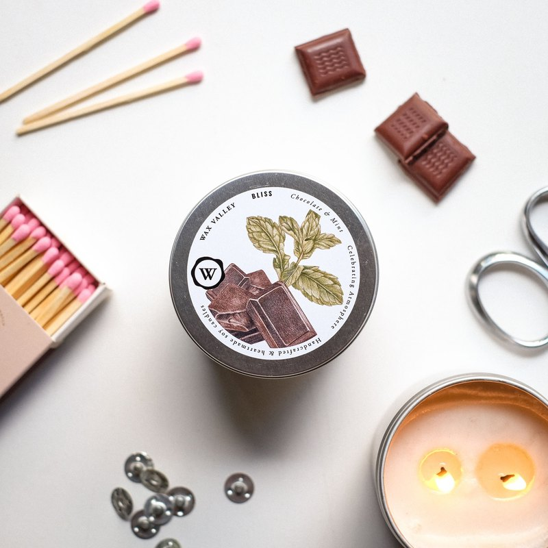 Soy Candle Bliss Blend Portable Tin - Chocolate & Mint