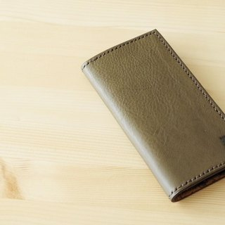 Italian leather I want to use forever iPhone case khaki / Italian leather iPhone case # khaki