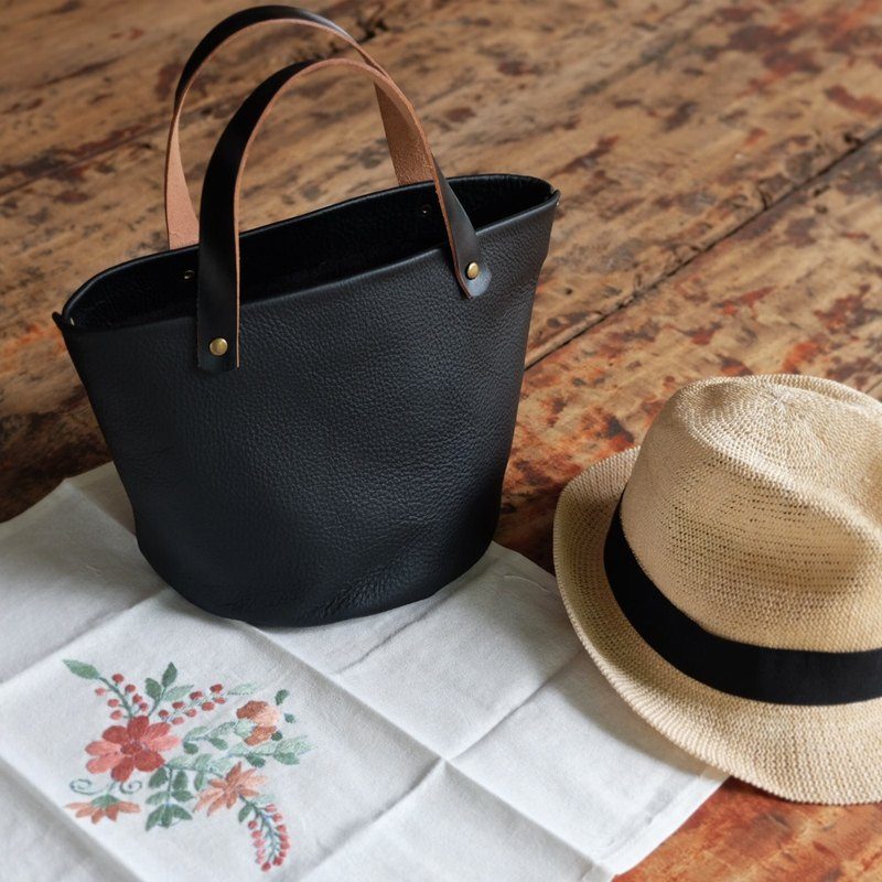 Mini Black Soft Japanese Leather Bucket Bag / Small Leather Picnic Basket