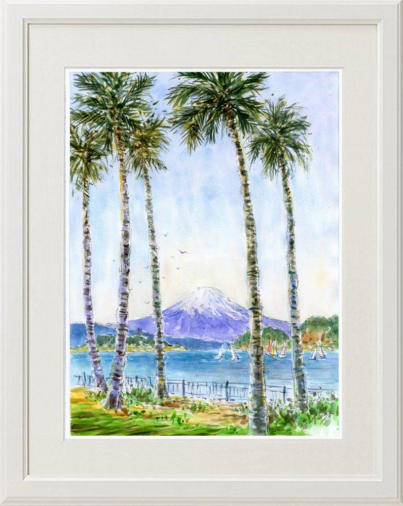 Original painting of watercolor at Mt.Fuji, Choshi Marina