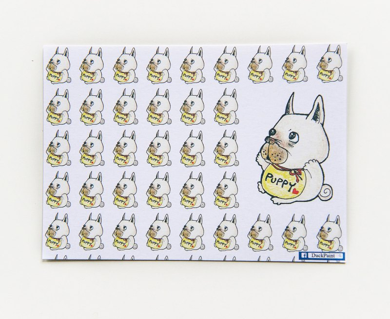 明信片法斗baby讨抱抱色铅笔插画French Bulldog/postcard