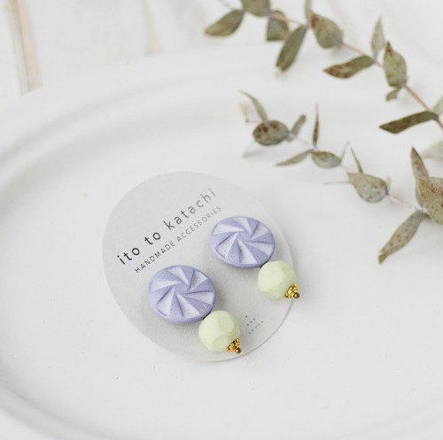 Oven clay earrings, Wind mill, Grayish purple