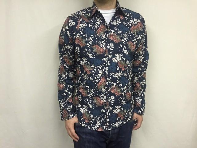 Long-sleeved shirt Japanese Pattern (Sakura and foo dog)