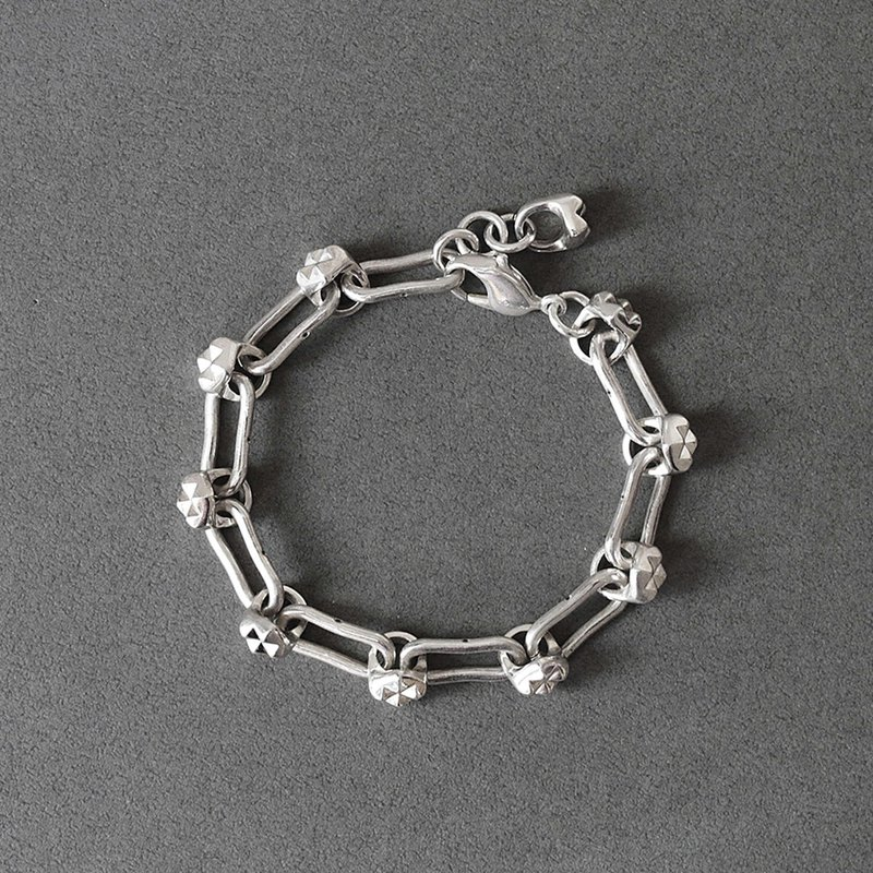 Dot and Spike Silver Chain Bracelet