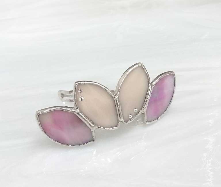 Stained glass bulletta 【Leaf】 stone bamboo pink