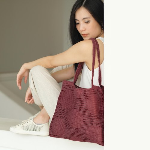 Crochet Polka Dot Tote Bag | Raspberry