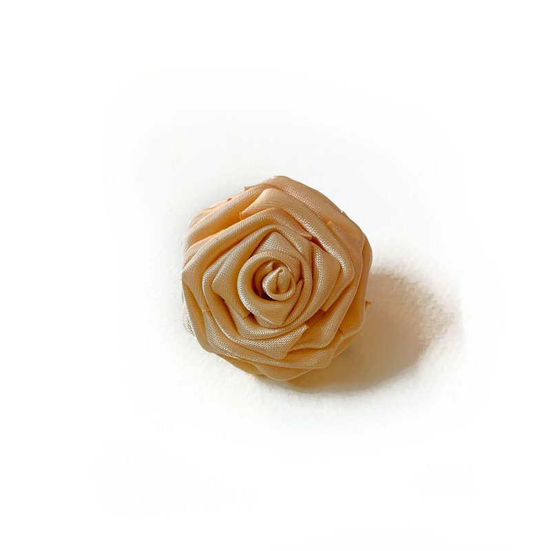 Traditional Japanese Tsumami Kanzashi Peach Rose Hair Clip and Brooch