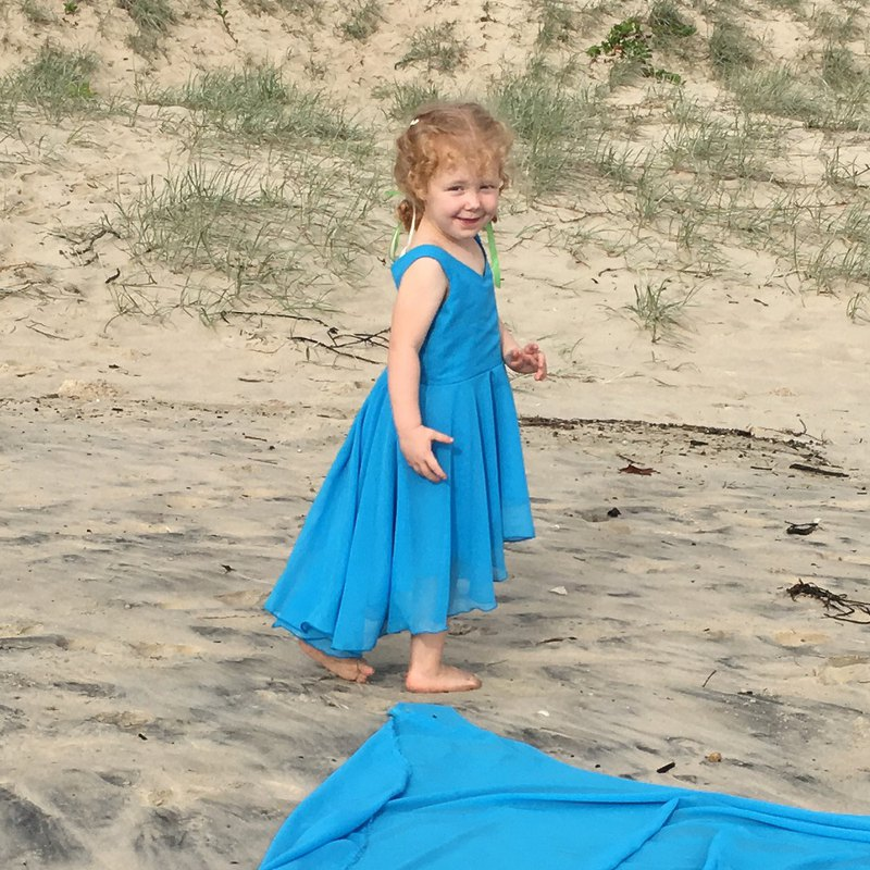 Girls Mod Summer Party Dress in Aqua 6 - 12 Years