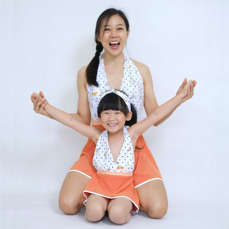 BIKINIPARI: One-piece Swimwear: Adult and Kids: PEACH SORBET