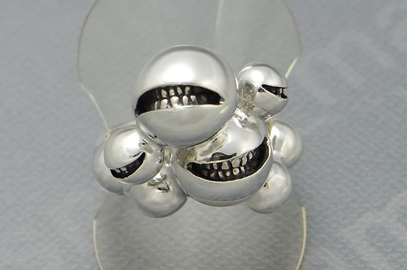 smile ball union ring ( s_m-R.23) 微笑 笑 不高兴 怒 銀 環 戒指 指环 jewelry sterling silver