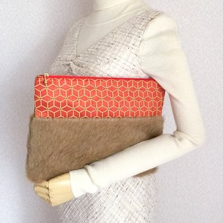 Clutch bag with fake fur and Japanese Traditional pattern