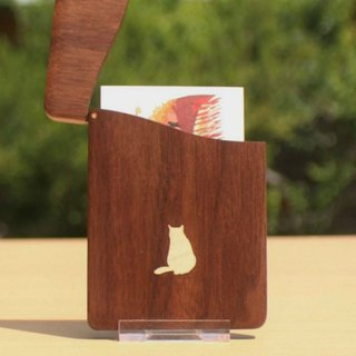 "business card holder ""cat no.2"" Slim name-card case Walnut and Maple"