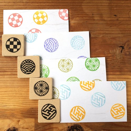 Easy to use round pattern Japanese pattern petit eraser ginkgo set 4 pieces
