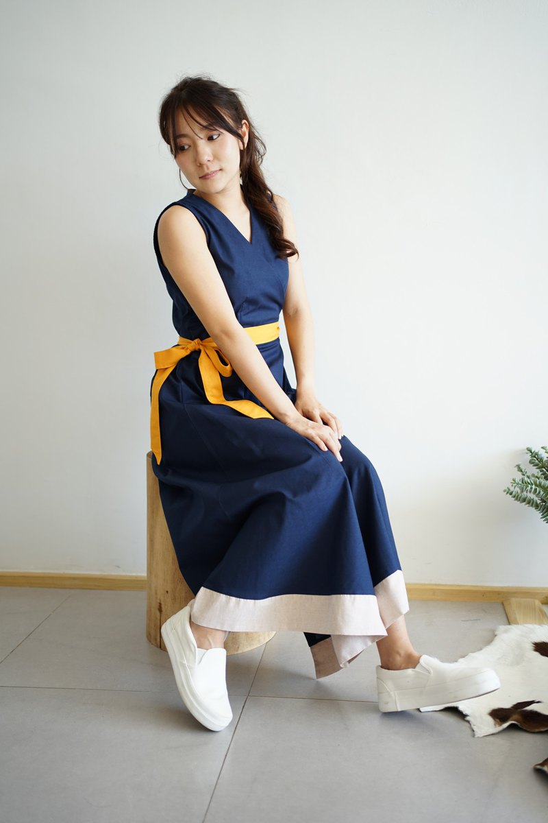 LOOKCHAN DRESS - Navy