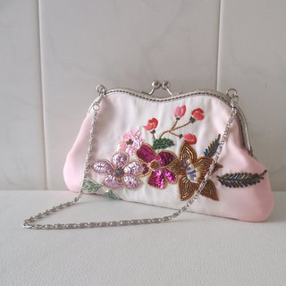 M-shape large purse made of kimono fabrics -with beaded embroidery