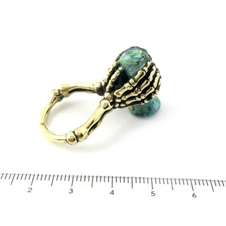 Zodiac Water Bearer bone ring is for Aquarius in Brass and patina green color ,Rocker jewelry ,Skull jewelry,Biker jewelry