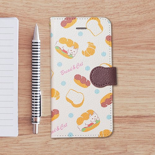 【Notebook type phone case】Bread & Cat