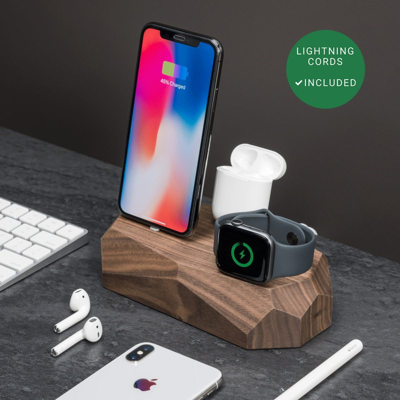 WALNUT TRIPLE CHARGING STATION, iPhone apple watch docking station, AirPods dock