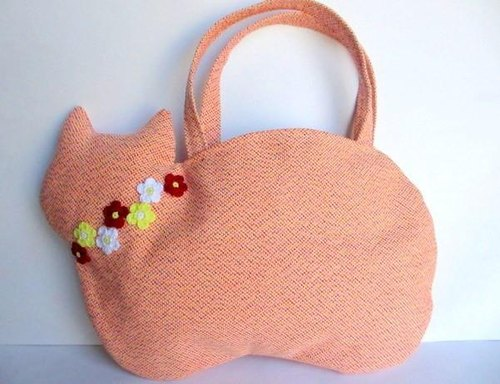 French flower motif cat bag Orange