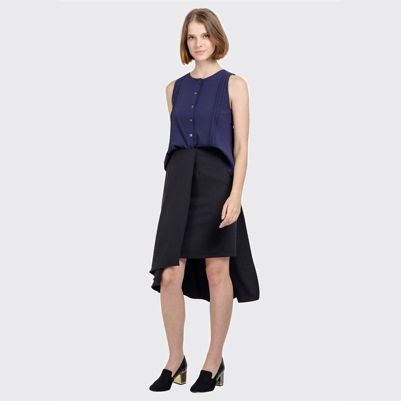Pleated Buttoned Top (Navy)