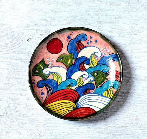 """Waves and zigzag (empty rose color)"" Enamels dish"
