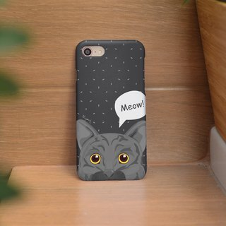 iphone case gray cat said meow for iphone5s,6s,6s plus,7,7+, 8, 8+,iphone x