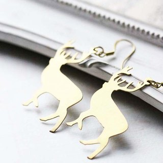 Graphic Deer Wire Earring / Wire Brass Earring / Everyday Jewelry / Linen Jewelry / Brass Deer Earring